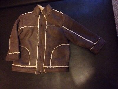 Retro Style Leather look Boys Brown Jacket - 3 years