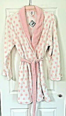 New Ulta Bathrobe Robe L/XL Soft Plush White Pink Polka Dot Pockets & Tie