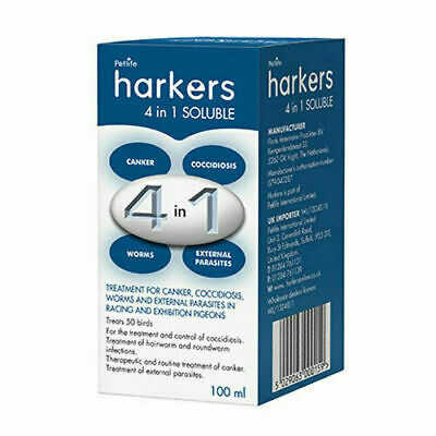 Harkers 4 in 1 Soluble 100ml Pigeon Prevention of Coccidiosis Canker and Worms