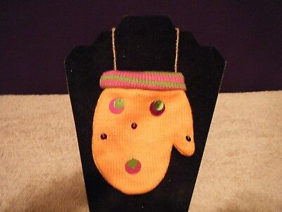 Cute Mitten Purse, 100% Polyester, Snaps Closed, Orange Or Lime Green,  Club Wea