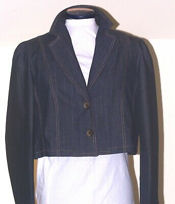 Chic Blue Denim Jacket Cropped Lovely Quality Size 12 Long Sleeves Chanel Style