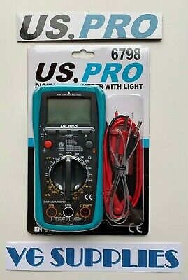 US PRO Digital Multimeter With Light - AC DC OHM Current Circuit Tester 6798 NEW