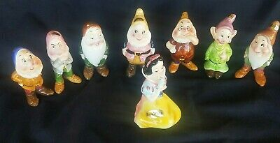 Walt Disney Productions Snow White and the Seven Dwarfs Ceramic Figurines Enesco