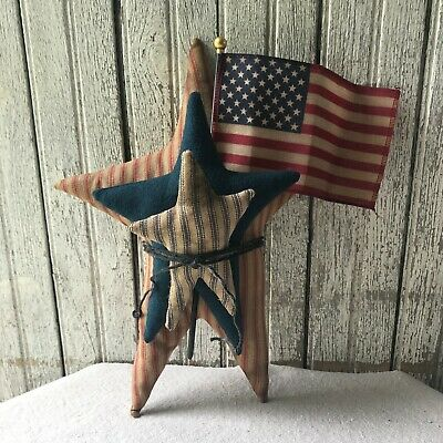 Set Of 3 Americana Primitive Stars 4th Of July Patriotic Flag Summer Home Decor