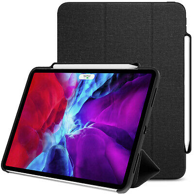 LUVVITT iPad Pro 12.9 Case Front and Back Cover with Pencil Holder 2020 - Black