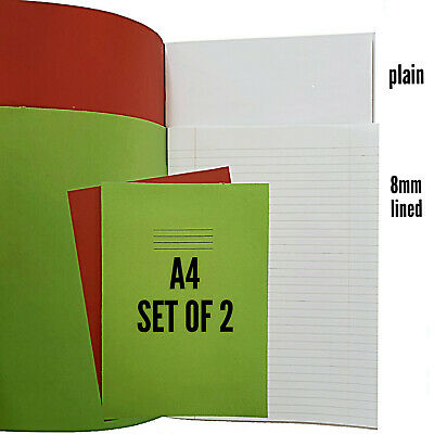2 X A4 School Exercise Note Books Rhino 32 Page 8mm lined  & plain homework