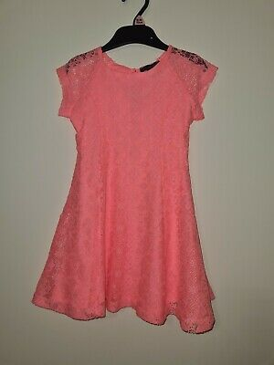 Baby Girls Kids Dress Neon Coral Floral Lace 3-4 Years Summer Party Birthday