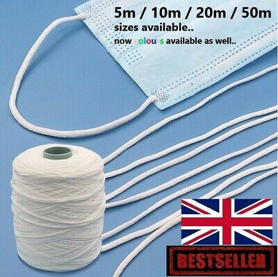 3mm Elastic Cord Soft & Round,Elastic Cord for Masks,Mask Elastic in the UK