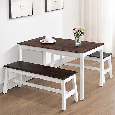 Mecor 3PCS Dining Table Set w/2 Benches Pine Wood Kitchen Room Furniture Coffee