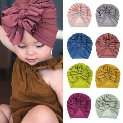 18 Color Newborn Baby Turban Hat for Girls Cotton Infant Headband Beanie Hat Cap