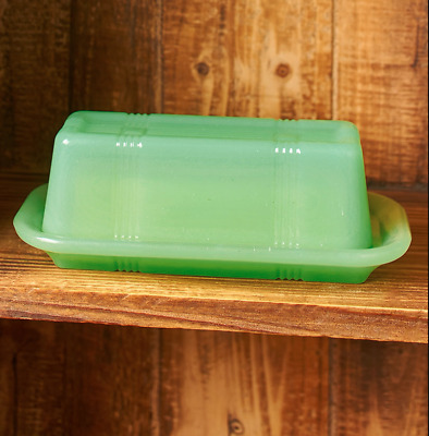Green Opaque Glassware Butter Dish With Cover Farmhouse Victorian Design Kitchen