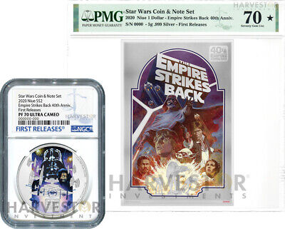 Empire Strikes Back 40Th Anniversary Coin & Note Set - Ngc Pf70 First Releases