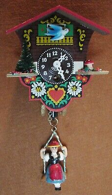 Vintage TRENKLE Wind-Up Pen & Pendulum Wooden Clock w/Hanging Madchen (Parts?)