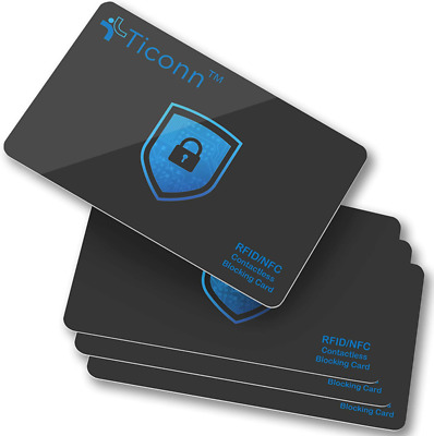 TICONN RFID Blocking Cards - 4 Pack, Premium Contactless NFC Debit Credit Card P