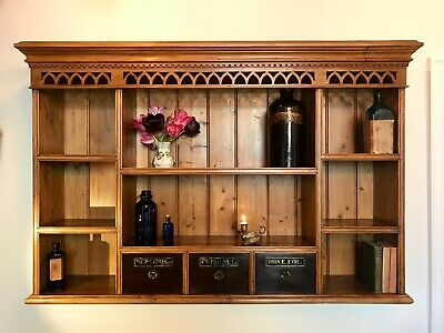 Fabulous Antique Victorian Style Wall Shelf With Vintage Old Apothecary Draws!!