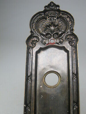 Antique Brass Door Lock Face Plate Victorian Skeleton Key Hole Decorative Ornate