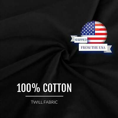 "60"" Width Black 100% Cotton Twill Fabric Sold by the Yard Solid Sewing"