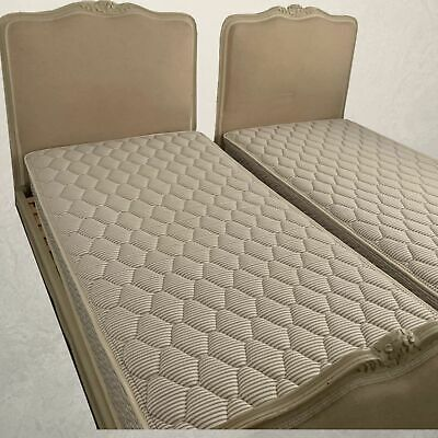 Pair Louis XV Beds Taupe Neutral Junior Single Beds Neoclassical French Classic