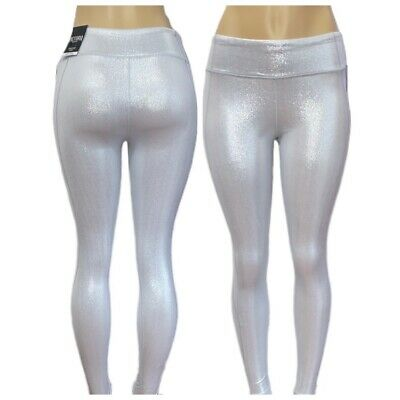 Victorias Secret Knockout Medium Rise Yoga Sport Tight Leggings Metallic Silver