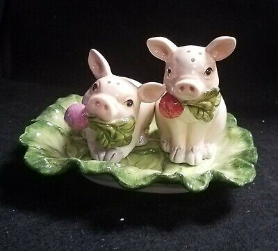 Fitz & Floyd French Market Pig Salt & Pepper With Tray