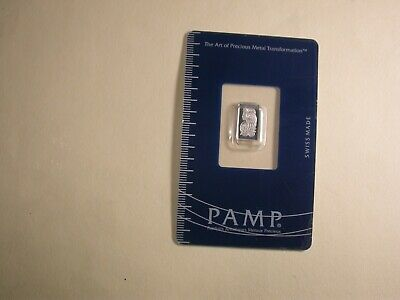 Swiss Pamp 1 Gram .9995 Platinum Bar sealed on Card with Serial Number