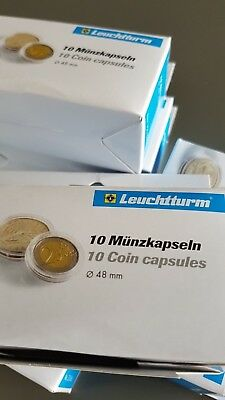 50 x LIGHTHOUSE COIN CAPSULES (FITS 2OZ SILVER LIBERTAD) 48mm (5 PACKS OF10)