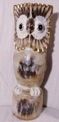 "Owl Wood Sculpture Hand Carved & Painted Gold Accents Indonesia 15"" H New"