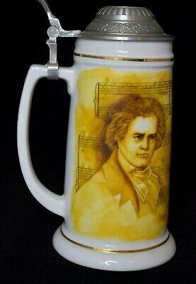 Ludwig Beethoven Stein Metal Hinged lid Made in Germany 8 3/4 inches tall