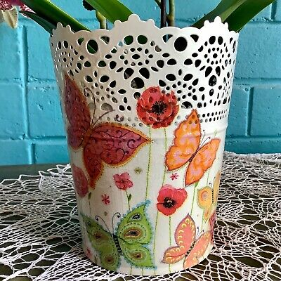 White galvanised steel hand decorated planter pot with butterflies