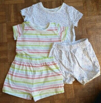 2 x Girls Striped multicoloured/ Floral Pyjamas Aged 2-3 Years NEXT C46