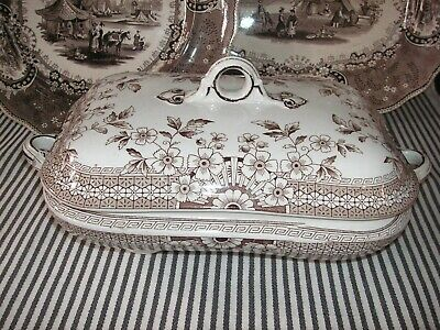 Antique Foley Brown Transfer Ware Covered Casserole Vegetable Dish Staffordshire