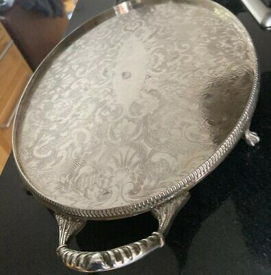 Large Oval Vintage Silver Plated Two Handled  Butlers  Serving Tray Sheffield