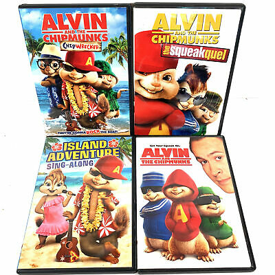 Alvin and The Chipmunks: Chipwrecked, Island Adventure, Squeakquel DVDs Lot of 4