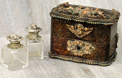 Antique 19thC Continental Box & 2 Scent Bottles; Likely French; Very Unusual
