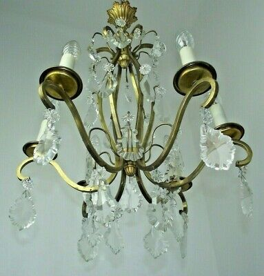 Fabulous Early French 6 Arm Brass Cage Chandelier Adorned With Crystals 1037