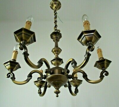 Contemporary French Hexagonal Style 6 Arm Bronze Effect Metal Chandelier 805