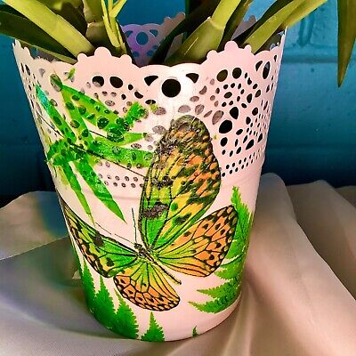 Metallic hand decorated planter pot with butterfly