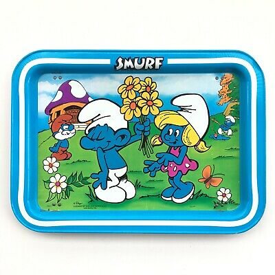 Vintage 1982 Smurfs TV Tray By Peyo Wallace Berrie & Co. 80's Cartoons 17""
