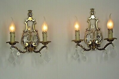 Pair French Antique Baroque Style Open Back Double Crystal Wall Sconces 1010