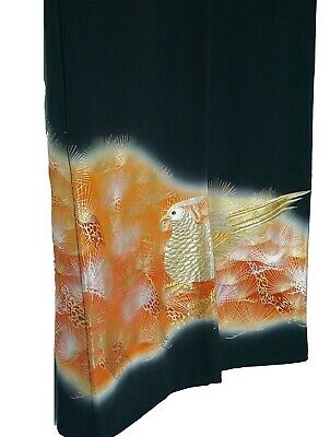 "Authentic Vintage Ceremonial Kimono Black Silk ""Kuro-Tomesode"" #115"