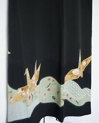"Authentic Vintage Ceremonial Kimono Black Silk ""Kuro-Tomesode"" #122"