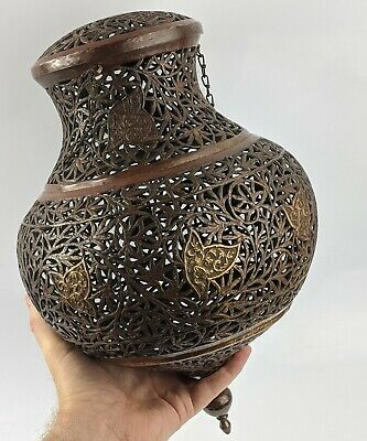 Islamic Antique Large Mosque Lamp - Copper Openwork Superb Kashmir / Afghanistan