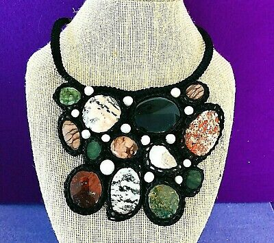 CROCHETED GEMSTONE & PEARL NECKLACE-     kbc-affordable