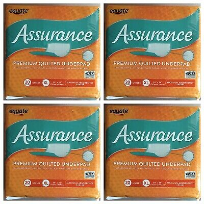 Equate Assurance Maximum Absorbency Premium Quilted Underpad XL 20 ct - (4 Pack)