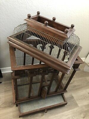 Large Beautiful Antique Victorian Style Carved Wood Bird Cage