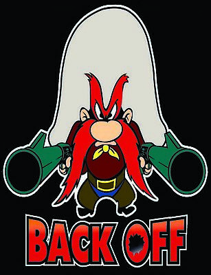 Yosemite Sam..BACK OFF iron on transfer with instuctions CV-19 virus back off 6'