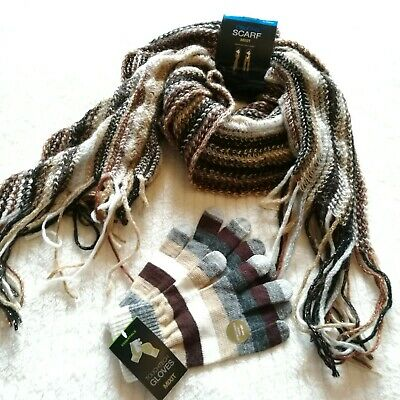 NWT MIXIT Women's Scarf and Gloves Set, Brown and Tan Multi-colors, Touchscreen