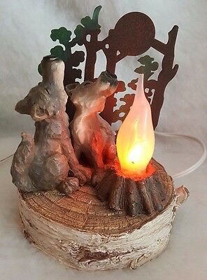 Two Wolves With Flickering Flame Fire Figurine Electric Light 6""