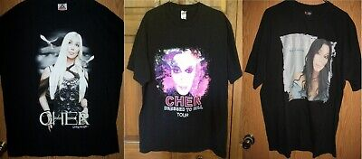 CHER - Living Proof 2002,Dressed to Kill 2014 & Believe Tour Concert T-Shirts XL
