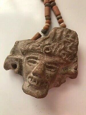 Rare  Antique Precolumbian Mayan Necklace With Head